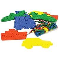 Play & Discover - Formine a forma di mezzi di trasporto, con spago, 4 pezzi per ogni tipo di mezzo: barca, aereo,auto, treno, con 16 spaghi, confezione da 16