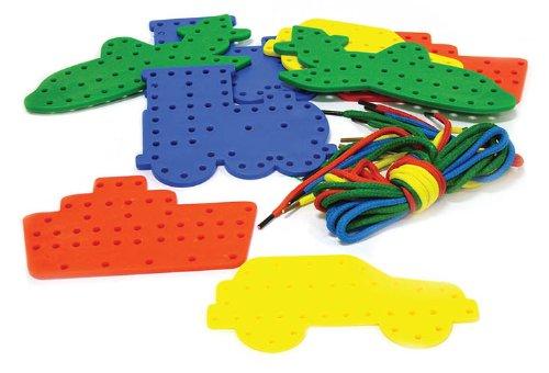 Play & Discover Kinderspielzeug mit Schnürsenkeln, 16 Formen insgesamt (je 4xBoot, Schiff, Flugzeug, Zug), inkl. 16 Schnürsenkeln (Zug Kostüme)