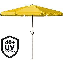 Parasol XXL 350cm jaune - Manivelle - Protection UV - Ombrage soleil chaleur
