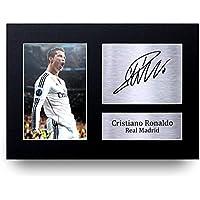 Cristiano Ronaldo Les Cadeaux Ont Signé A4 L'Autographe Imprimé Real Madrid Affichage de Photo