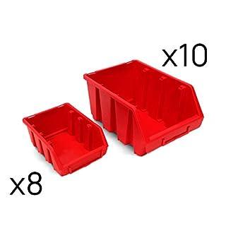 Ergobox Set 18 tlg Stapelbox Stapelbehälter Sichtlagerbox Kunststoff Gr 2 und Gr 3 (rot)