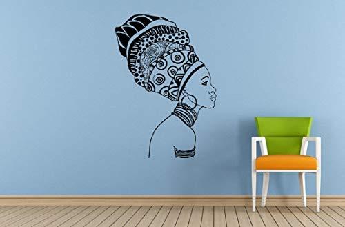 jiuyaomai Frau Afro Mädchen Afrikanischen Stammes Alten Stammes Muster Schmuck Wand Zimmer Vinyl Wand Kunst Dekor Aufkleber Aufkleber 57x81 cm