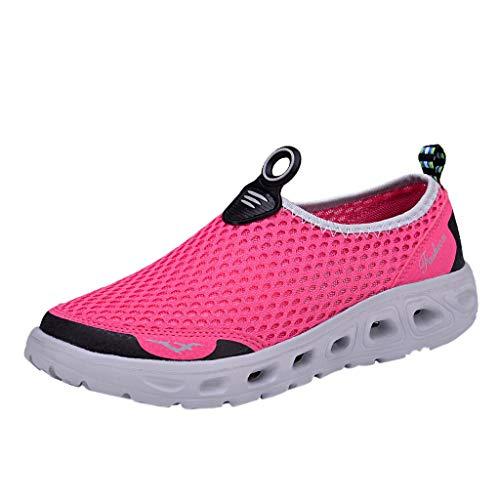 Xmiral Mesh Sneakers Atmungsaktiv rutschfest Gummisohle Laufschuhe Damen Einfarbig Badesandale Sportschuhe Barfuß Bootsschuhe Wasserschuhe(Rosa,37 EU)