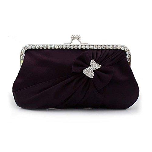 Frauen-nette Bowknot-Abendbeutel Parteibeutel Brautkleides Tasche Purple