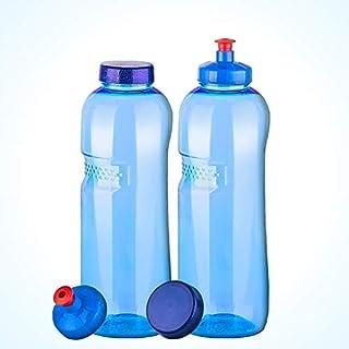 2 x Trinkflasche 1 L mit push & pull Deckel Wasserflasche aus Tritan (Bisphenol A frei)