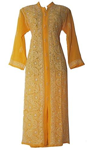 Lucknowi Chikankaari Yellow Georgette Paneled Kurti by INDIAN HANDICRAFT STANDARDS (X-Large)