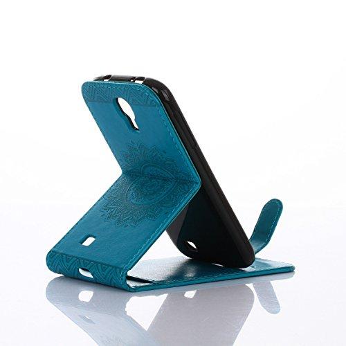 Felfy Coque Etui pour Samsung Galaxy S4,Galaxy S4 Coque Dragonne Portefeuille PU Cuir Etui,Galaxy S4 Etui Cuir Folio Housse Rose Or Tournesol 3D en Relief Motif Leather Case Wallet Flip Protective Cov Flip Bleu