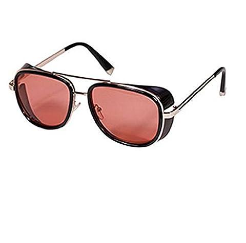 (Frame-Golden Red Lens) Sonnenbrille Modell Steampunk Iron Man Tony Stark Retro Herren Damen (Tv-werbung Kostüme)
