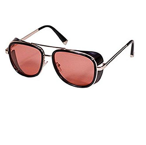 (Frame-Golden Red Lens) Sonnenbrille Modell Steampunk Iron Man Tony Stark Retro Herren Damen Unisex
