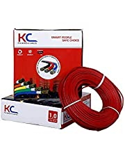 DMT™ KC-Cab FR PVC Insulated 1.0 SQ/MM Single Core Flexible Copper Electric Wire |90 Meter Coil | (Red, Pack of-1)