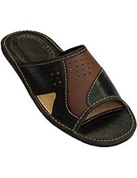Kalra Creations - Zapatillas de estar por casa de Piel para hombre, color negro, talla 40.5 EU M