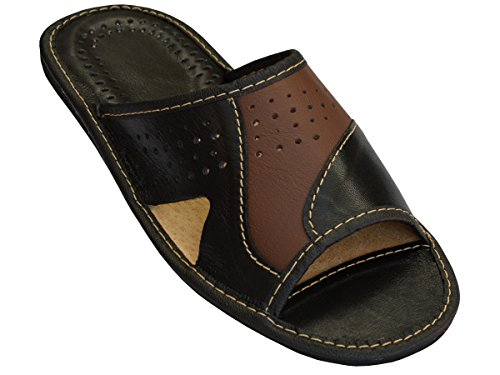 Janex Genuine Mens Brown Leather Slippers Slip-on Shoes, Braun, 41 EU