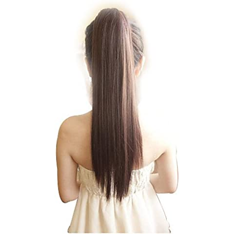 Pelucas de la manera conveniente y cómodo recta cola de caballo del clip de la garra clip de cola peluca de pelo natural,resistente al vestuario extensión larga cola de caballo