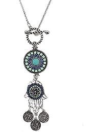Hosaire Moda mujer retro fatima mano borla largo cadena encantos suéter collar accesorios de la joyería