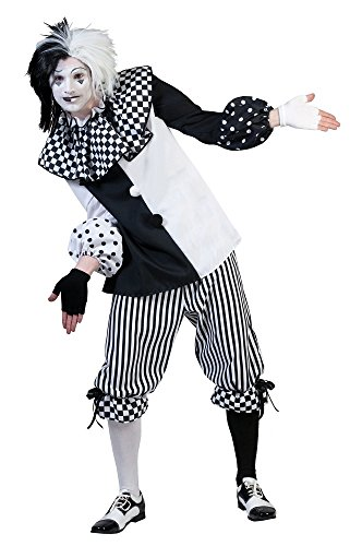 Pierro´s Kostüm Harlekin Herr Clown Herrenkostüm Oberteil Hose Größe 48 50 52 54 56 58 für Karneval, Fasching, Halloween, Motto Party / Clowns, (Kostüme Harlekin Clown)