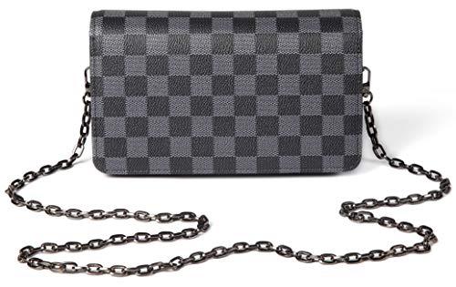 Daisy Rose Checkered Cross Body Bag - Rfid Blocking mit Kreditkarte Slots Clutch -Pu Vegan Leder Klein Schwarz - Vegan Leder Clutch