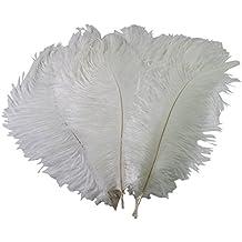 TININNA 50 Pcs plumas de avestruz Decoración Boda Novia Novio De Avestruz Diversión,6.8 pulgadas Blanco