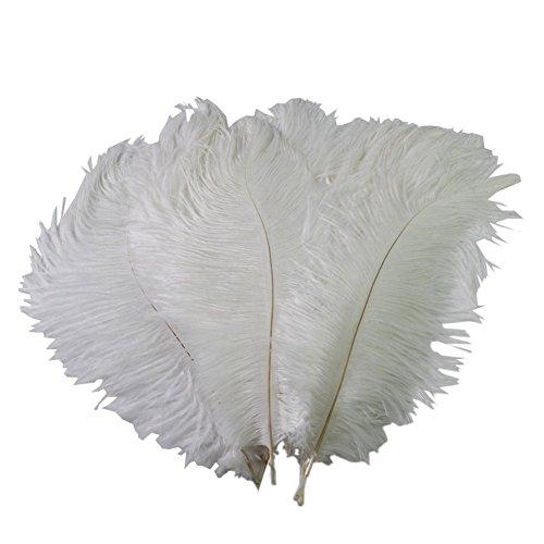 50 Pcs Real Natürliche 15-20CM Home Dekoration, Strauß Federn für Große Partei Hochzeits Mittelstücke Hauptdekoration (weiß) (Die Mittelstücke Für Partei)