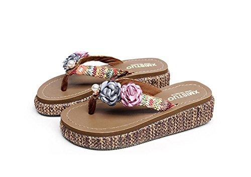 GDXH Nouveau Femmes Wedges épaisses Mode Pantoufles Occasionnels Mme Plage Sandales et Slips antidérapants Flippers Pieds Sandales et Pantoufles Pantoufles de Mode