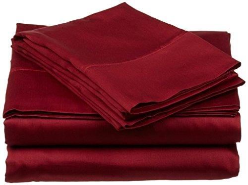 PC Diana Lin 100% coton Drap de lit Ensemble – 400 fils Satin tissé – Naturel, doux, 35 cm de profondeur de linge de lit Luxueux de qualité – 4 pièces de poche (Bordeaux solide Euro double Ikea)