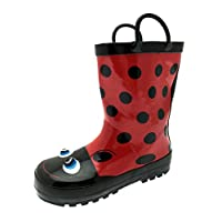 Lora Dora Kids Girls 3D Character Wellington Boots Snow Rain Wellies + Handles  10 UK Child Ladybird