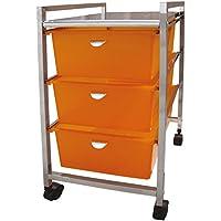 Laroom Carrito Ancho 3 cajones, Chrome Acero Inoxidable Structure y PP Drawers, Naranja