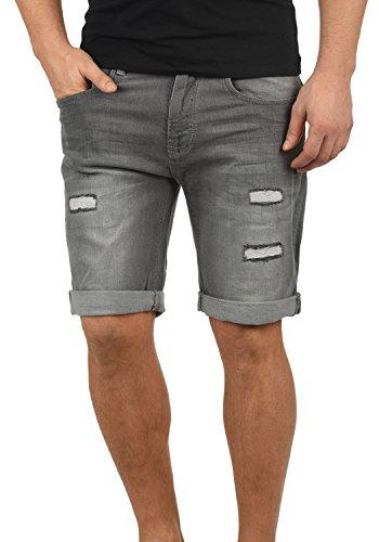 Indicode Hallow Herren Jeans Shorts Kurze Denim Hose Mit Destroyed-Optik Aus Stretch-Material Slim Fit, Größe:S, Farbe:Light Grey (901)