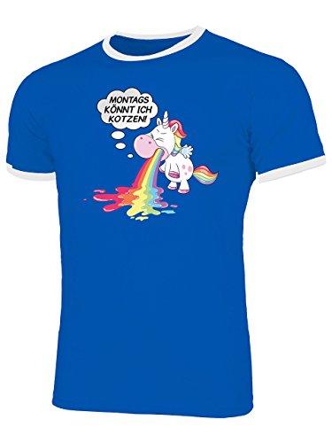 nnt Ich Kotzen 5939 Herren Ringer T-Shirt (HR=Blau/Weiss) Gr. XL (Kotzen Regenbogen Kostüm)
