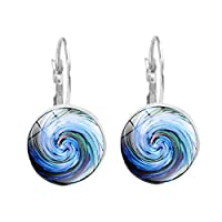 6SlonHy Vintage Swirl Vortex Pattern Glass Cabochon Leverback Earrings Jewelry Gift Silver