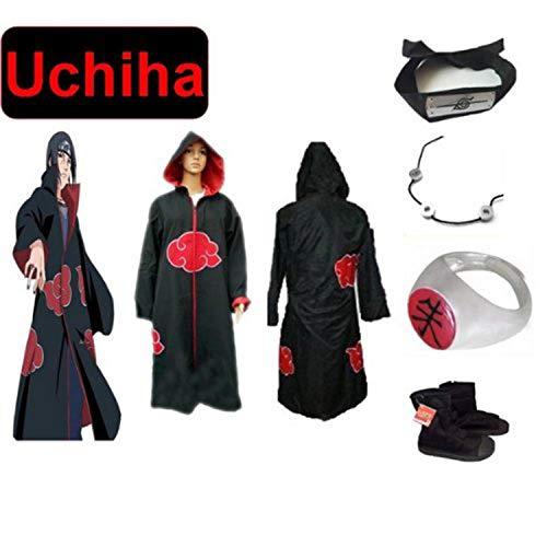 Preisvergleich Produktbild Japanische Anime Naruto Cosplay für Uchiha itachi Set -- Akatsuki Ninja Uniform / Cloak / Hut, Größe(XXL: Höhe 185cm-190cm) + Uchiha itachi Halskette + Uchiha itachi Ring + Uchiha itachi Stirnband + Ninja-Schuhe
