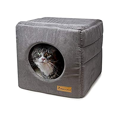 allpetsolutions Cat Small Dog Cosy Cube Igloo Bed, 3-in-1 Foldable Grey Pet Kitten Puppy Soft Cave Bed, Machine Washable with Reversible Cushion - 35 x 35 x 35cm from All Pet Solutions