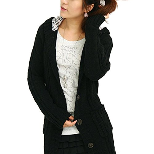 Minetom Mujeres Niñas Otoño Punto Cárdigan Suéter Manga Larga Capucha Con Botones Negro A