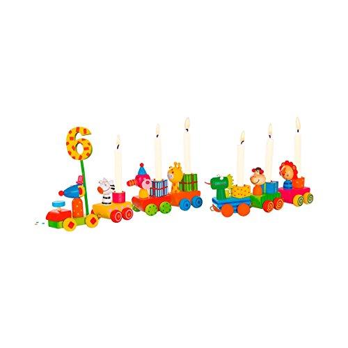 solini Geburtstagszug Safari-Tiere (17-TLG.) - farbenfrohe Deko für den Kindergeburtstag - Zug mit Lokomotive, Waggons & Zahlen - bunt -