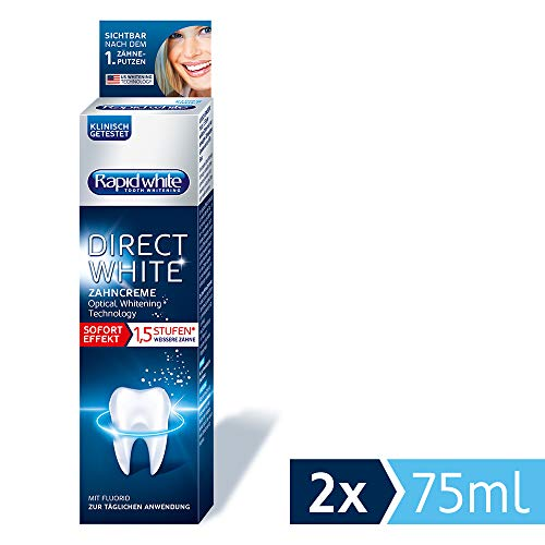 Rapid White Direct White Zahncreme, Zahnpasta für sofort weißere Zähne, ohne Wasserstoffperoxid, Zahnaufhellung, Whitening Technology aus den USA, 2 x 75 ml