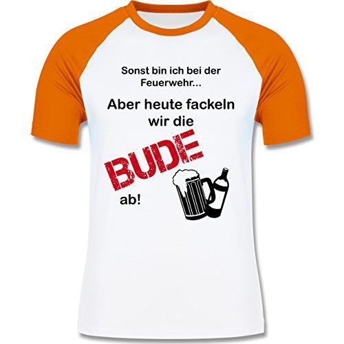 JGA Junggesellenabschied - Heute fackeln wir die Bude ab! - zweifarbiges Baseballshirt für Männer Weiß/Orange