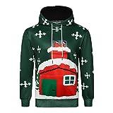 KPILP Kapuzenpullover Männer Tuniken 3D Weihnachten Print Hässliche Langarm Mit Kapuze Sweatershirt Top Herbst Winter Sweatshirts(Grün1,EU-50/CN-M