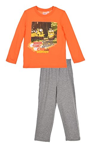 Minions Kinder Pyjama für Jungen und Mädchen, Schalfanzug Set mit langarm Oberteil und Schlafanzughose mit Minions Motiven (01), Orange-Grau, 128
