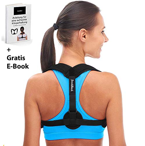 GoodBack Geradehalter zur Haltungskorrektur für eine Gesunde Haltung inkl. eBook - Rückenstütze, Haltungstrainer für Damen und Herren – ideal zur Therapie gegen Rücken und Schulterschmerzen
