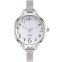 Reloj de pulsera, KanLin1986 Mujeres Casual Cristal De Acero Inoxidable Puntero AnalóGico Cuarzo (Plata