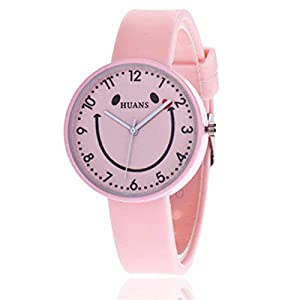 Digitaluhr Für Kinder, Smiley-Muster Süß Mode Student Quartz Glasspiegel wasserdichte Uhr PU Lederband Armband