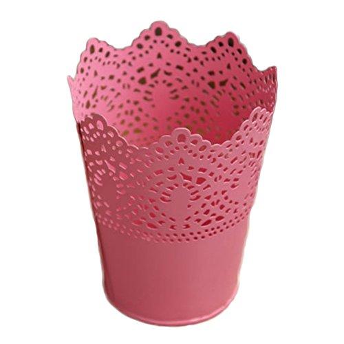 CAOLATOR Stiftehalter Stift Organizer Blumenanordnung Eisenvase Florale-Design Metall Behälter Bleistift Pot Organisator (Rosa) Floral Aus Metall