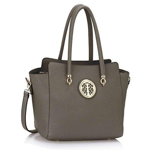 TrendStar Trendstar Damenhandtaschen Der Frauen Schulterbeutel Designer Neue Promi Stil Trage Groß (Lila Trage Bag1) Grau