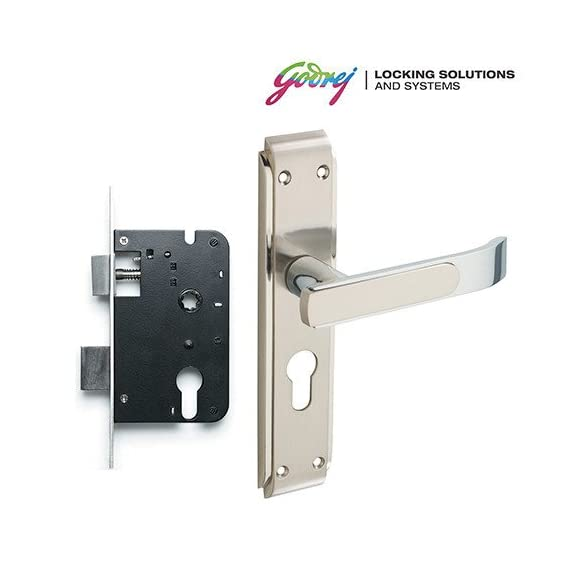 Godrej Gloria Satin 20cm Steel 2 Tone Door Handle with Lock Set