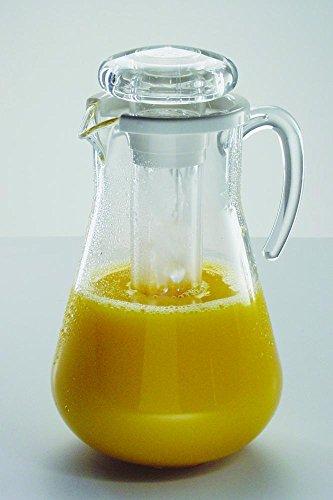 APS 10770 Saftkanne, Ø 18cm, H: 29cm, 3 Liter MS, transparent, mit Eiswasser-Röhre (Acryl-krug Und Glas-set)