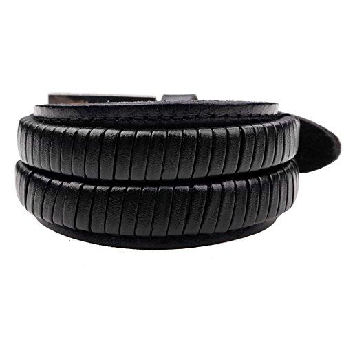 Broadroot Men Women Wrap Braided Wristband Cuff Punk Bracelet Bangle (Black) Man Wrap