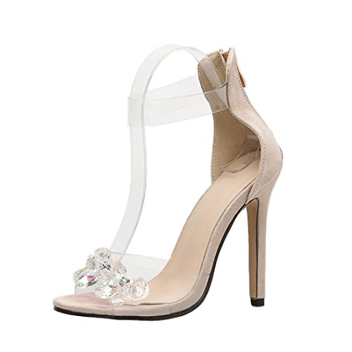 Bambus High Heel Heels (S&H-NEEDRA Damen Mode Strass offene Toe High Heels Frauen transparente Stiletto Sandalen)