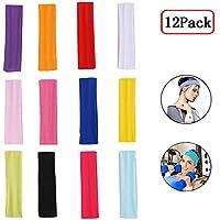 Fascia Capelli Donna, Headband, Capelli Sport, 12 Pezzi Allungare Elastici Yoga Cotone Colori Misti per Adolescenti, Adulti, Ragazze e Donne