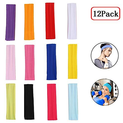 Elion Haarband Damen,Sport Stirnband,Yoga Haarband,Sport Schweißband für Laufen, Radfahren,Basketball - Dehnbar Feuchtigkeit Wicking Haarband(12 Stück)