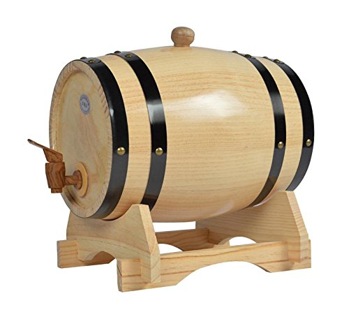 Mkuha Horizontal Holz Weinfass Spender Kiefer,Aluminiumfolie Liner(Log-Farbe), 20L -
