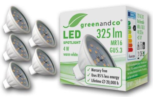 greenandco 5-er Pack MR16, GU5,3 LED Spot Strahler 4 W, 325 lm, 3000 K, 12 SMD LED, 110 Grad, 12 V, Keramik mit Schutzglas, nicht dimmbar, warmweiß 5x NZ-MR16-12SMD-4W